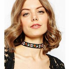 Boho Black Collar Chain Fabric Ribbon Choker Necklace Embroidered Flower
