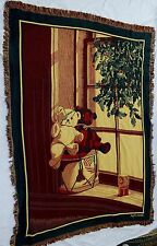 Bob Timberlake Teddy Bear Woven Tapestry Throw Blanket Christmas Holly Red Green