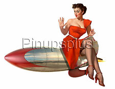 Pinup Girl Waterslide Decal Sticker Riding bomb Rocket Bomber Art Nose Art S989
