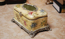 Resin Napkin Tissue Serviette Paper Holder Box Gift Yellow Flower Vintage Cover