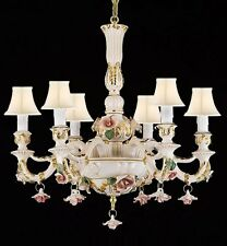 AUTHENTIC CAPODIMONTE PORCELAIN CHANDELIER LIGHTING MADE IN ITALY W/ WHITE SHADE