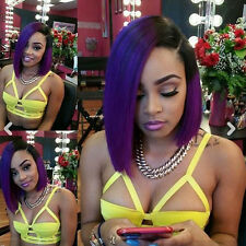 Brazilian human hair ombre purple color glueless bob lace front wig for women