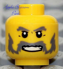 NEW Lego Castle MINIFIG HEAD w/Gray Mustache Smile Beard -Pirate/Kingdoms Knight