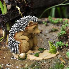 Miniature Dollhouse FAIRY GARDEN ~ Sleepy Hedgehog With Frog ~ NEW