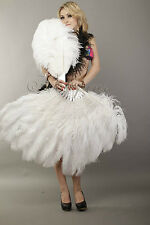 "White 2 layers Ostrich Feather Fan Burlesque dancer friends 30""x 54"" gift box"