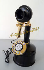 NAUTICAL VINTAGE LOOK BRASS CANDLE STICK TELEPHONE ROTARY PHONE CHRISTMAS GIFT