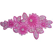 i221 Iron On Fuschia+Silver Sequin Applique Flower Leaf