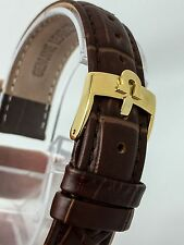 NEW OMEGA GENUINE LEATHER 18MM WATCHES STRAP BROWN GOLD PLATED BUCKLE WS-S6