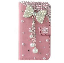 Bling Crystal Diamonds magnetic PU leather flip slots stand wallet case cover #D
