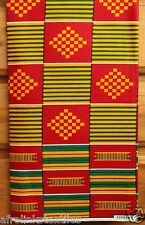 African Kente Print Fabric Cloth Bright & Bold Colors 100% Cotton Sold per yard