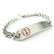 MyIDDr - Pre Engraved - ALZHEIMER'S Medical Alert ID Bracelet, Curb Chain