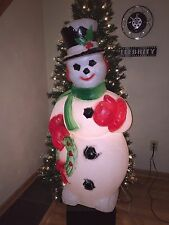 "Vintage Christmas 44"" Snowman Holding Wreath Lighted Blow Mold Yard Decoration"