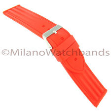 24mm Milano Trendy Bright Candy Red Rubber Silicone Replacement Watch Band