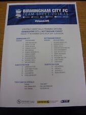 07/11/2014 Birmingham City Youth v Nottingham Forest Youth  (single sheet, folde