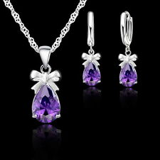New Gift Amethyst Cubic Zirconia Dangle Earring Pendant Necklace Jewelry Sets