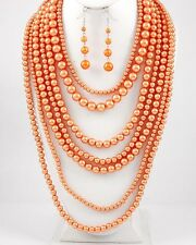 Silver Tone / Orange Synthetic Pearls / Multi Row Necklace & Fish Hook Earring