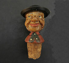 Anri or German Carved Wood Bottle Cork Stopper Smiling Man Vintage Antique