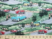 Cotton Vintage Car Cars on Scenic Road Cotton Fabric Print by the Yard D779.30