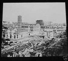 ROSCH Glass Magic lantern slide VIEW OF THE COLOSSEUM ROME C1900 ITALY . ROMA