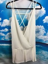 Nasty Gal Cage Tunic Cami Top Strappy Cream NWT New S M
