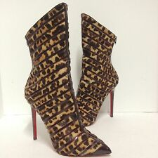 NEW! CHRISTIAN LOUBOUTIN GOUZIMINE POINTED-TOE MID CALF BOOTS - (Size: 42)