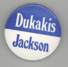 1988 MICHAEL MIKE DUKAKIS Jesse Jackson Political PIN Button PINBACK Democrat