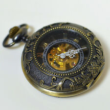 Vintage Style Rare Classic Skeleton Auto Mechanical Bronze Roman Pocket Watch