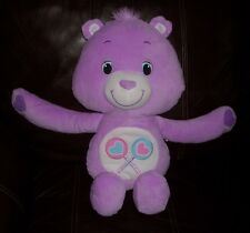"18"" 2012 CARE BEARS HUG ME BACK SHARE BEAR PURPLE HASBRO STUFFED ANIMAL PLUSH"