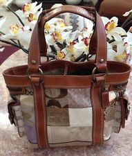 Coach Patchwork Multicolor Brown Whiskey Leather Tote Bag 10002
