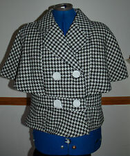 New Sz 12 Hounds Tooth Check Monochrome Cape Sleeve Double Breasted Jacket Coat