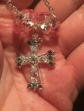 "Cross Bejeweled Pink Baubles Mix B Charm Tibetan Silver 18"" Necklace"