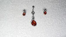 Amber Rose Teardrop Stone Belly Navel Ring Body Jewelry Piercing Earrings Set