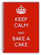A5 KEEP CALM & BAKE A CAKE RED NOTEBOOK PLAIN LINED PAPER STANDARD GIFT CHRISTMA