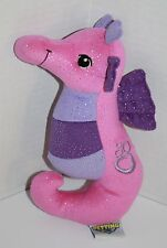 "The Petting Zoo Pink Purple Glitter Sparkle Plush SEAHORSE 9"" Stuffed Soft Toy"