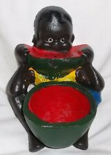 Vintage Cast Iron Black Sambo Americana Watermelon Boy Door Stop / Change Dish