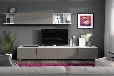 Maura TV Unit Living Room Furniture Set Media Wall Basalt Grey on White Gloss