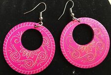 Boho Hippy Gypsy 70s Style Open Hoop Hot Pink Wooden Abstract Fashion Earrings