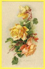 Superbe cpa Toilée ILLUSTRATION LITHO Signée C. KLEIN Roses Jaunes Gouttes d'Eau