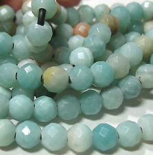 "Amazonite 7.5-8mm Faceted Round Large 2mm Hole Beads 8"" Leather Chain Wrap"