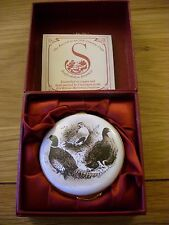 "STAFFORDSHIRE ENAMELS TRINKET BOX ""PHEASANTS & DUCKS"" UNUSED IN ORIGINAL BOX"