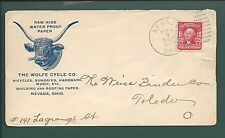 """Nevada, Ohio, Cover, 1904.  """"THE WOLFE CYCLE CO."""" Hardware,Sundries."""