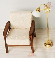 1:12 Dollhouse Miniature Furniture Wood Single Sofa Chair In Beige Couch Model