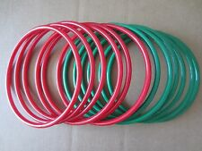 "Lot of 6 Pairs Red & Green 8"" Round Plastic Macrame Purse Handles Craft Ring"