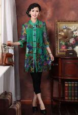 blue green red Chinese silk Women's Top Dress/T-shirt blouse 10.12.14.16.18.20