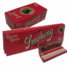 50 SMOKING RED Standard 70mm Rolling Papers Medium Weight 70mm x 37mm Full Box