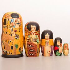Klimt Russian Nesting Doll Matryoshka Hand Painted The Kiss 5 pcs 7''