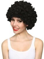 Black Stylish Curly Afro Wig Clown 70s Disco Style Unisex Fancy Dress Party