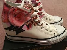 New Converse Chuck Taylor All Star Digital Flower Wedge Sneakers Size 7.5 White