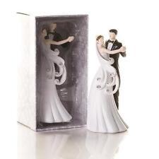 Cake topper confezione statuina sposi ballano strass statua sposini matrimonio