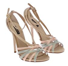 NEW $910 DOLCE & GABBANA Shoes Multicolor Silk Leather Strappy s. EU40 / US9